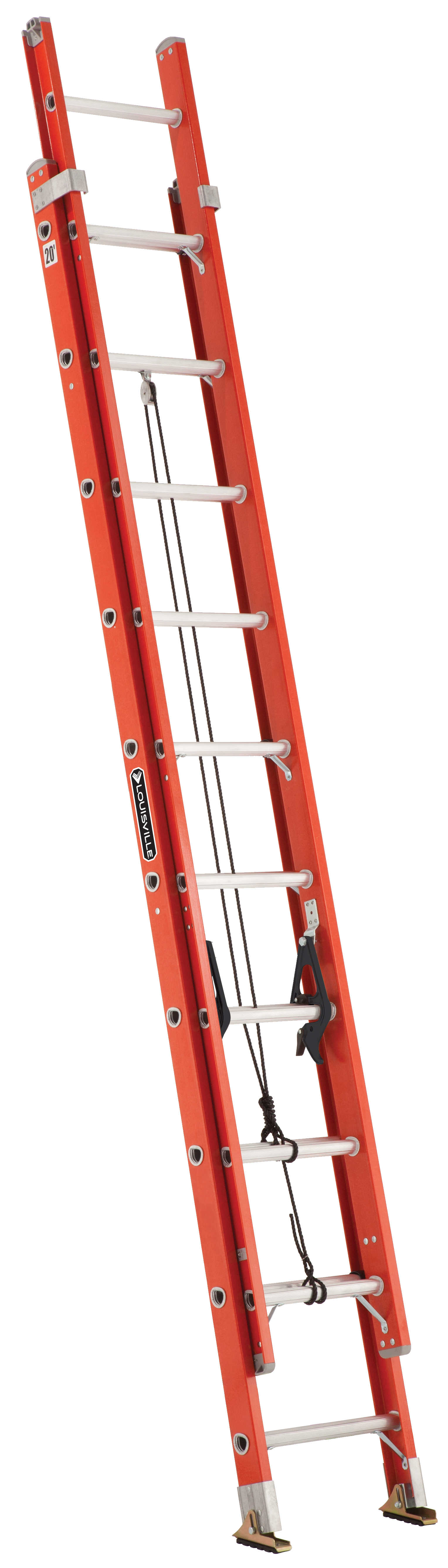 Louisville Ladder FE3220 20 ft. Fiberglass Extension Ladders, Type IA, 300 lbs Load Capacity