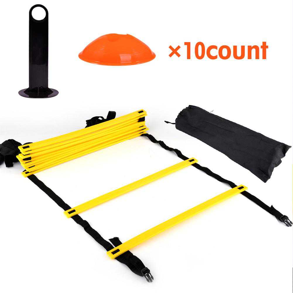Ashata Speed Agility Training Ladder Kit--12 Adjustable Flat Rungs and 10 Cones (Orange/Yellow) for Fo,Agility Ladder Cones Speed Ladders