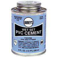 Harvey's 018410-24 Medium Bodied Wet Set Solvent Cement, 8 oz, Dauber Can, Hot Blue, Liquid