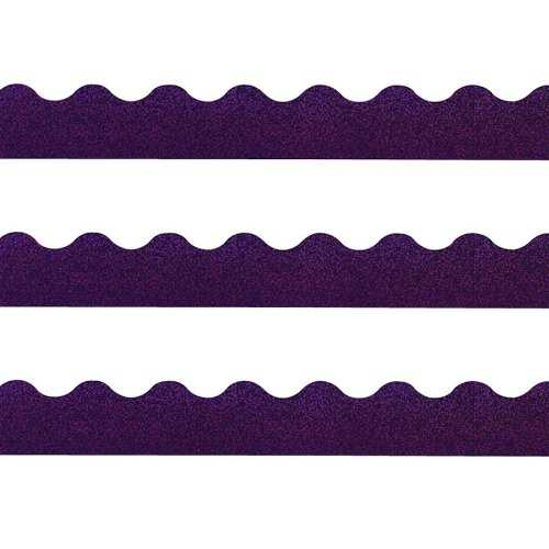 Trend Terrific Trimmers Sparkle Trimmer - Rectangle Topped With Waves - 2.3' X 32.5' - Paper - Purple (T91414)