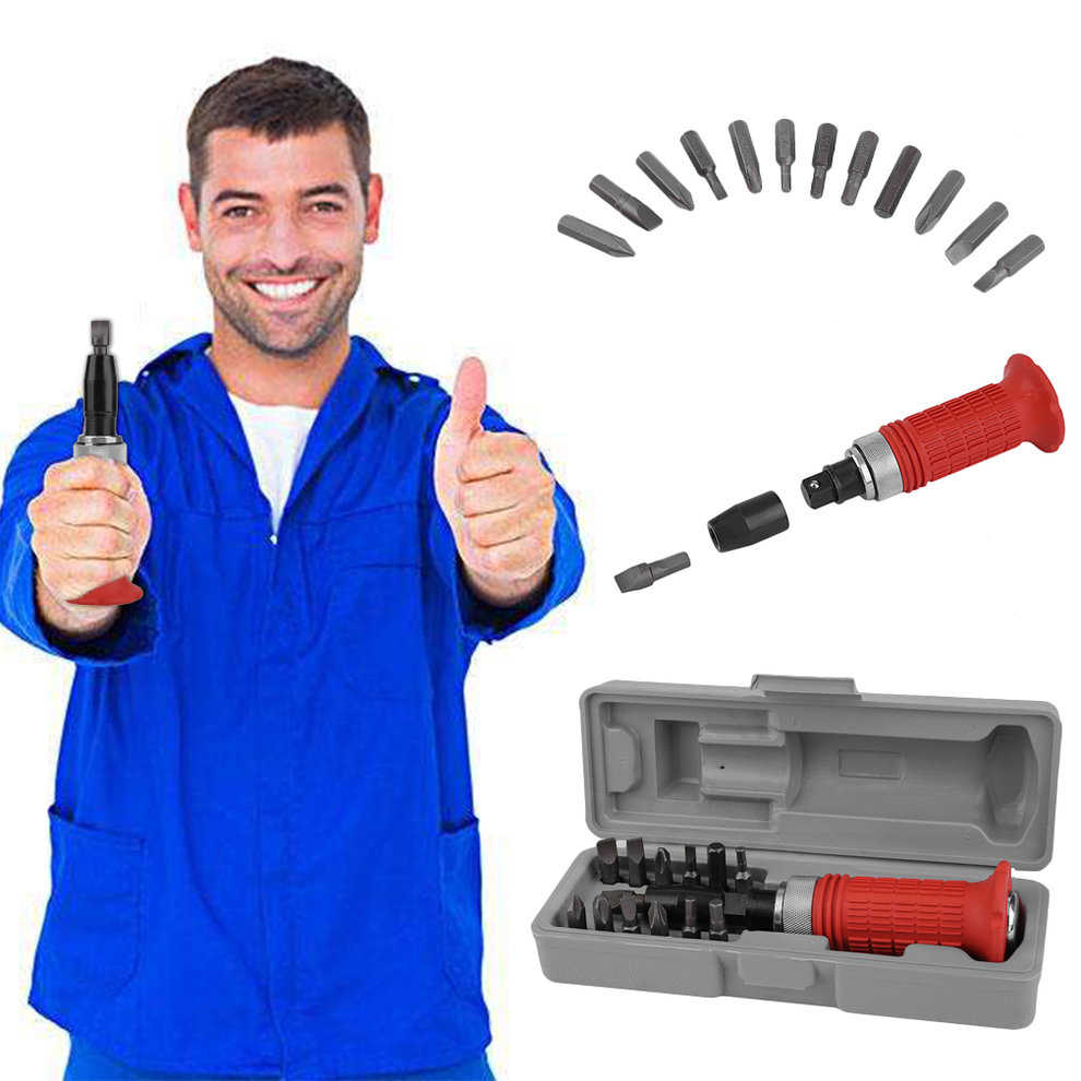 14 Pcs Multi-Purpose Heavy Duty Impact Driver Bits Screwdriver Kit Home Tool Socket Equipment With Carry Case