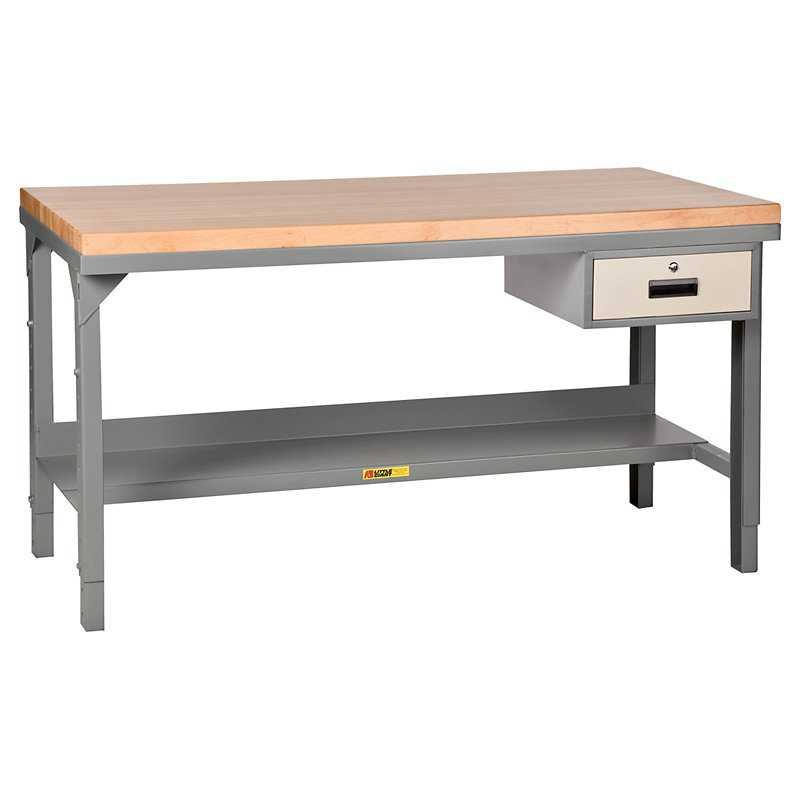 Little Giant Butcher Block Top Workbench with Drawer - Fixed - 60W x 30D x 37.75H in.