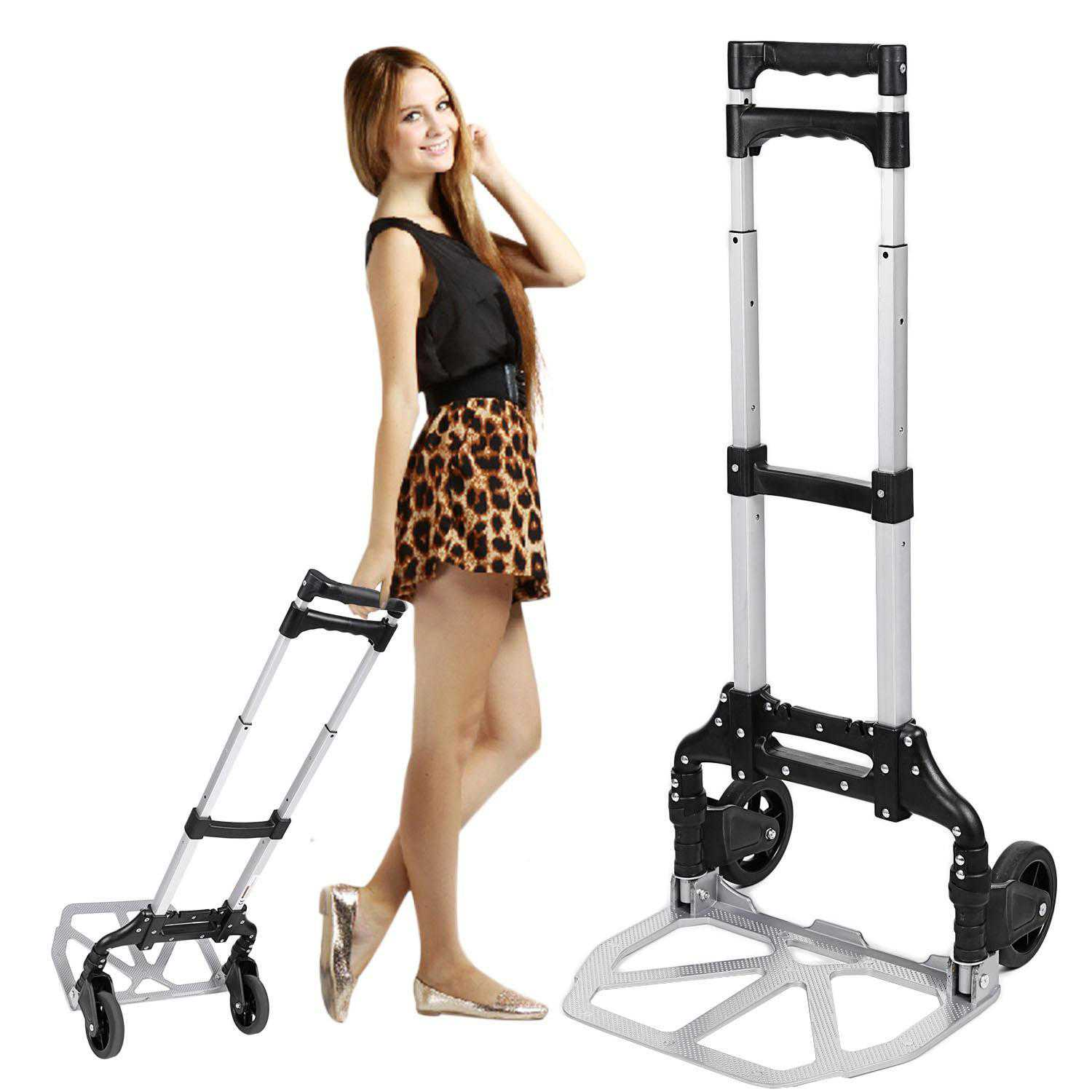 Portable Folding Hand Truck Hand Carts Luggage Carts,150 lbs Capacity Silver Aphe