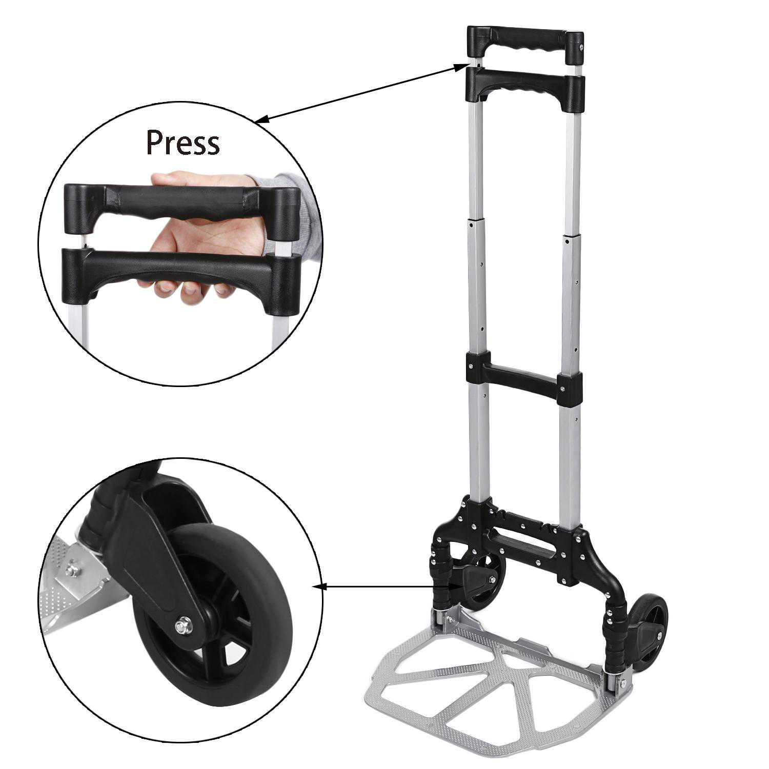 Telescoping Portable Folding 150 lbs Hand Truck Dolly Luggage Carts Aluminum Alloy DEYAD