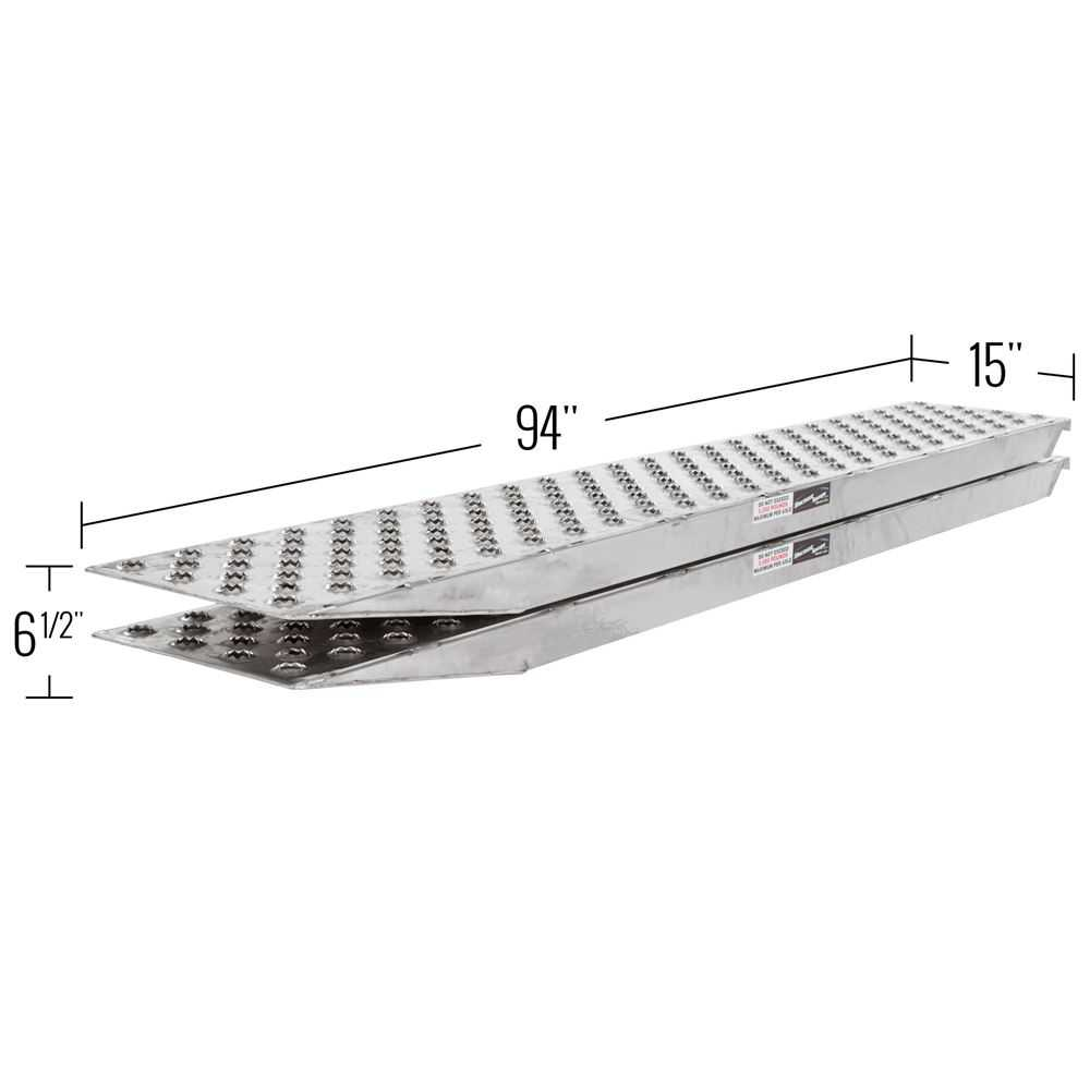 94' Aluminum 5,000 lb Car Hauler Loading Ramps